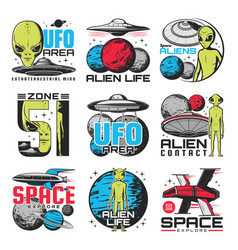 Aliens ufo area and space shuttles icons vector