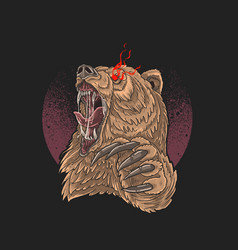 Angry bear red eye with sharp claw vector