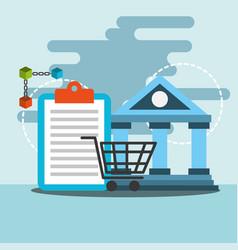 Bank transfer online shopping blockchain vector