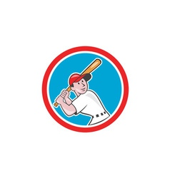 Baseball Player Batting Looking Up Circle Cartoon vector image vector image