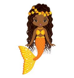 Beautiful black mermaid with long curly hair vector