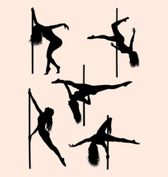 beautiful pole dancer silhouette 02 vector image