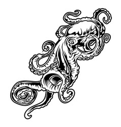 big octopus drawing black amp white vector image