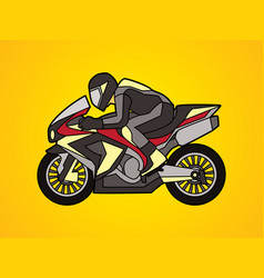 Black motorcycle racing side view graphic vector