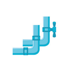 blue plastic water pipe with valve in flat style vector image