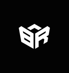 br logo monogram with emblem style ribbon design vector image