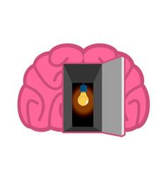 brain with light bulb open door concept of mind vector image
