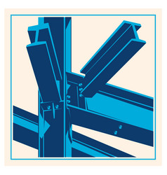 building construction metal frame icon vector image