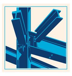 Building construction metal frame icon vector