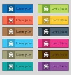 Car icon sign Set of twelve rectangular colorful vector