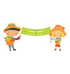 Cartoon farmer girl and boy with banner vector