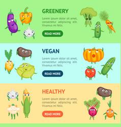 Cartoon fresh healthy vegetables characters banner vector