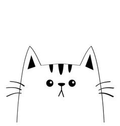 cat sad head face silhouette contour line cute vector image