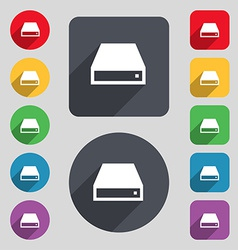 CD-ROM icon sign A set of 12 colored buttons and a vector image