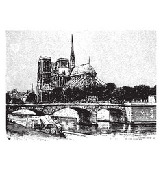 chevet of notre dame viewed from the shore line vector image