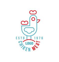 chicken meat logo estd 1976 retro badge for farm vector image