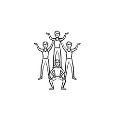 Circus artists making a pyramid hand drawn icon vector