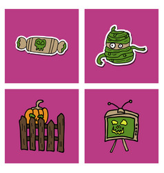 collection of halloween flat celebration cards vector image