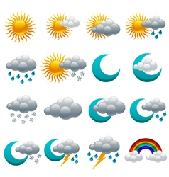 Colorful Glossy weather Icons vector
