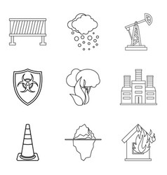 Contamination of the world icons set outline vector