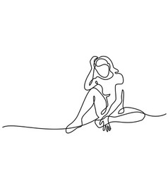 Continuous line drawing sitting sad girl vector