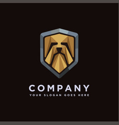 creative shield dog logo icon template vector image