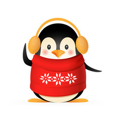 Cute penguin with sweater and earmuffs vector