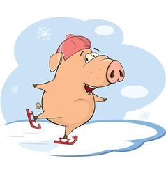 cute pig farm animal cartoon vector image