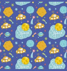deep space cartoon seamless pattern vector image