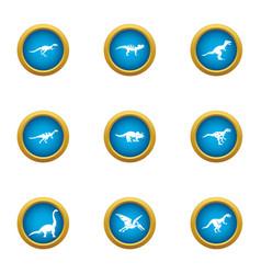 dinotopia icons set flat style vector image