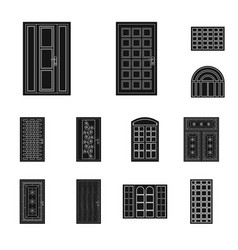 door and front icon set of vector image