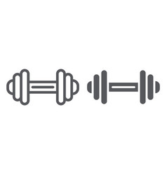 dumbbell line and glyph icon exercise and gym vector image