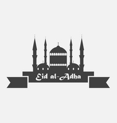 eid al-adha mosque with ribbon kurban bajram vector image