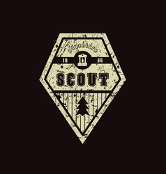 Emblem of scout camp vector