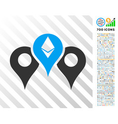 Ethereum map pointers flat icon with bonus vector