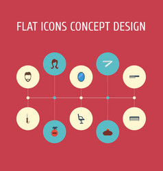 Flat icons hairbrush female hairstyle and other vector