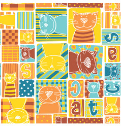 funny cat fabric patchwork wallpaper vector image