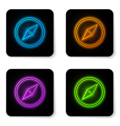 glowing neon wind rose icon isolated on white vector image