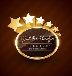 Golden badge premium label with stars flowing vector
