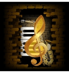 Golden treble clef saxophone piano key on a brick vector image