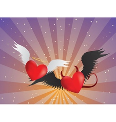 Good and evil hearts background vector