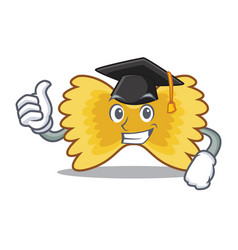Graduation farfalle pasta character cartoon vector