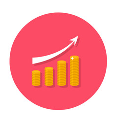growing chart flat icon vector image