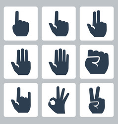 hands icons set finger counting stop gesture fist vector image