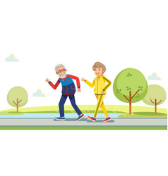 happy active seniors running outside in green vector image