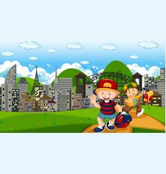 happy boys in city park scene vector image