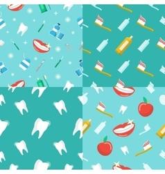 Healthy Teeth Dental Seamless Pattern Set vector