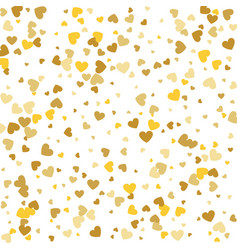 Hearts gold foil confetti cluster background vector