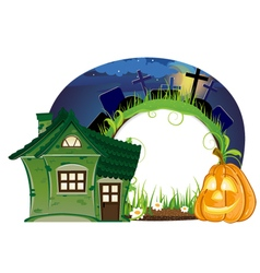House and Jack o lantern vector