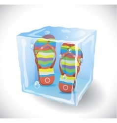 Ice cube with beach slippers vector